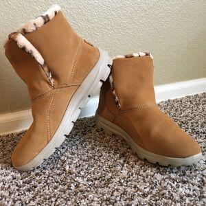 "SKECHERS tan ""On the Go"" boot w/leopard lining"